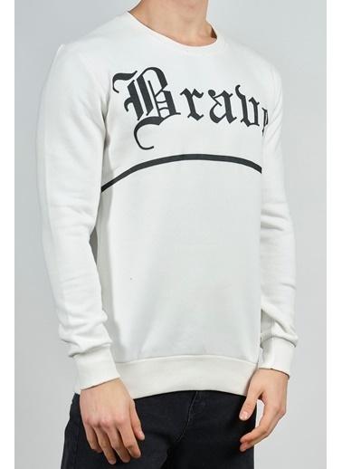 XHAN Pembe Baskılı Sweatshirt 1Kxe8-44268-20 Beyaz